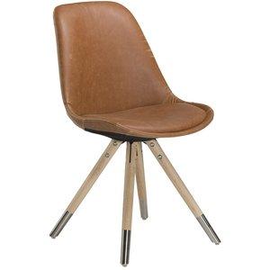 Orso stol med Ljusbrunt vintageläder - Whitewash ek