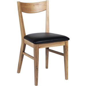 Kinley stol - Lackad ek/svart konstläder