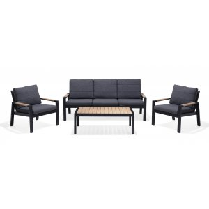 Panama Soffgrupp med bord (3+1+1+bord) - Svart / Trä look