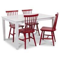 Mellby matgrupp 140 cm bord med 4 st röda Karl pinnstolar - Vit / Rött