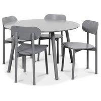 Rosvik matgrupp grått runt bord med 4 st Grå Alvaro matstolar