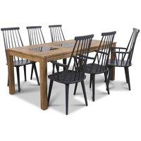 Jasmine matgrupp med bord och 6 st grå Dalsland pinnstolar med armstöd - Oljad ek / Granit