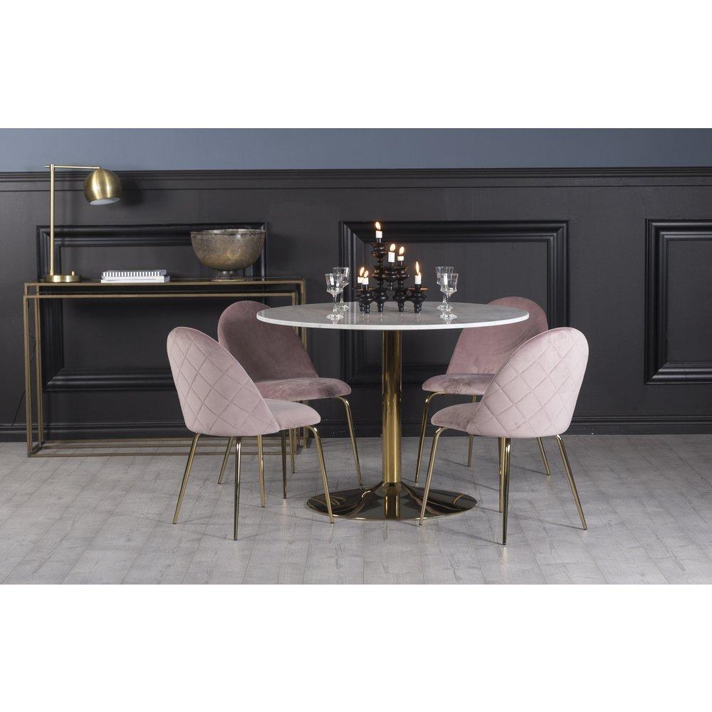 Köp Plaza Matgrupp med stolar i grön sammet online