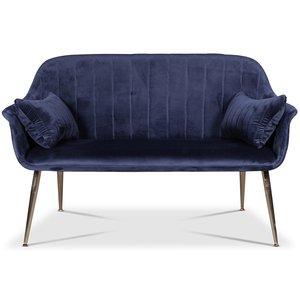 Flappy 2-sits soffa - Mörkblå sammet / Kromade ben