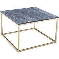 Accent soffbord 75 - Grå marmor / Mässingsfärgat underrede