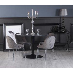 Plaza matgrupp, marmorbord med 4 st Plaza sammetsstolar - Grå/Svart/Krom