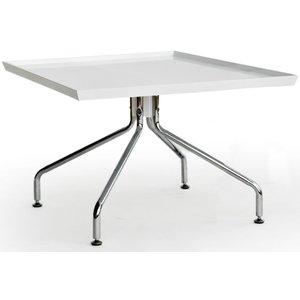 Tray Soffbord 70x70 cm - Vit (Högglans) / Krom