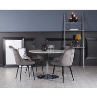 Plaza matgrupp, marmorbord med 4 st Theo sammetsstolar - Grå/Vit/Krom