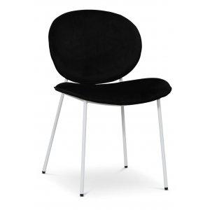 Rondo stol - Svart (Sammet) / Vit