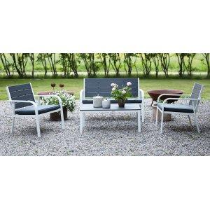 Alesund Loungegrupp med bord - Vit / Grå