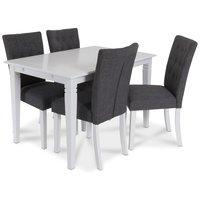 Sandhamn matgrupp 120 cm bord med 4 Crocket stolar i Grått tyg