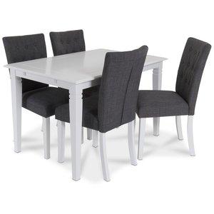 Sandhamn matgrupp 140 cm bord med 4 Crocket stolar i Grått tyg