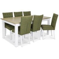 Skagen matgrupp - 180 cm Bord inklusive 6 st Crocket stolar i grön klädsel - Vit/Ekbets