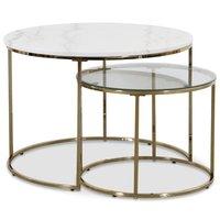 Tiffany satsbord - Vit marmor / Mässing