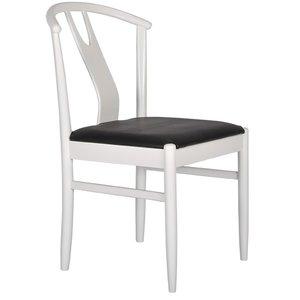 Hugo stol - Vit med svart lädersits