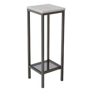 Ascot sängbord/piedestal 80 cm - Vit marmor / grå
