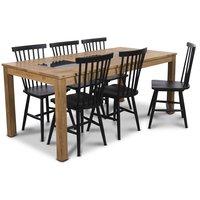 Jasmine matgrupp med bord och 6 st svarta Karl pinnstolar - Oljad ek / Granit