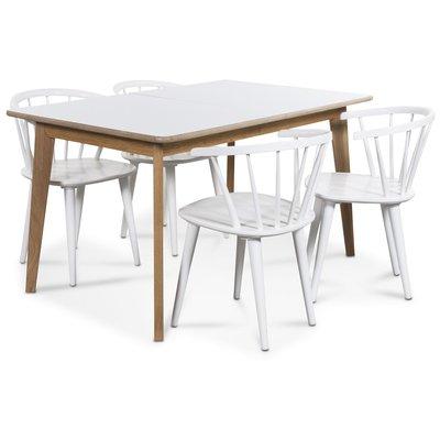 Holger matgrupp 140 cm bord med 4 st vita Fredrik pinnstolar