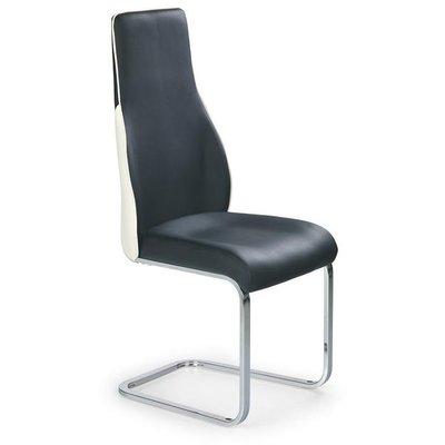 Nina stol - Svart / Vit / Krom (PU)