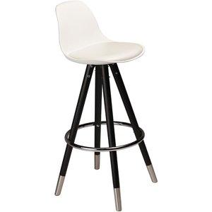 Orso barstol - Vitt konstläder svart och krom