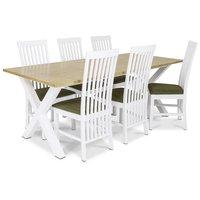 Isabelle matgrupp - Bord inklusive 6 st Vindö stolar med blå sits - Vit/ekbets