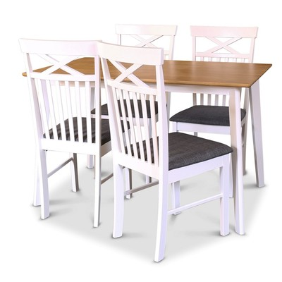 Sandhamn matgrupp - Bord inklusive 4 st stolar - Vit/Ek