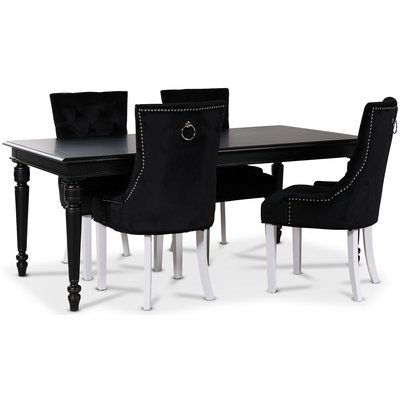 Paris matgrupp svart bord med 4 st Tuva Decotique stolar i svart sammet