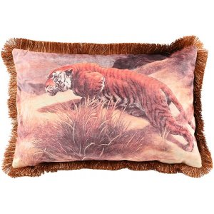 Tiger kuddfodral med fransar 60x40 cm - Vintage