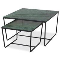 Stella Satsbord - Grönt marmorerat glas / Svart underrede