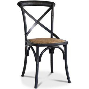 Gaston stol i böjträ med rottingsits - Antik svart