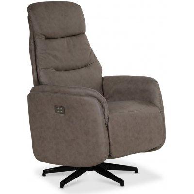 Comfort Saga (el) reclinerfåtölj med inbyggt fotstöd - Gråbeige ecoläder