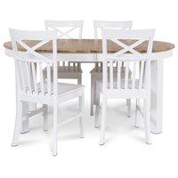 Dalarö matgrupp ovalt bord vit/oljad ek + 4 st Mellby matstolar