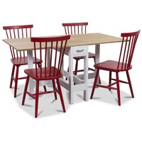 Signum matgrupp Slagbord vit/ek med 4 st röda Karl pinnstolar