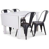 Sander matgrupp, Klaffbord med 4 st metallstolar - Vit/svart/Guld