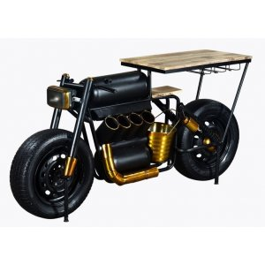 Vector biker motorcykel barbord/bardisk - Svart/guldig