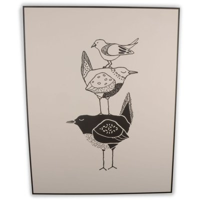 Canvastavla tre fåglar