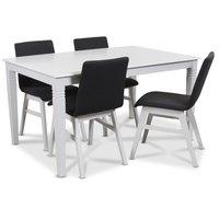 Mellby matgrupp 140 cm bord med 4 st Molly stolar grå - Vit / Grå