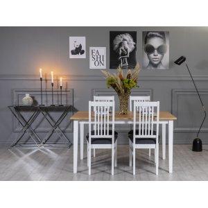 Fårö matgrupp: Bord 140 cm inklusive 4 Gåsö stolar - Ek/vit