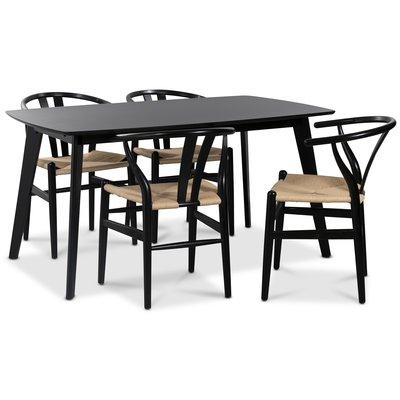 Sunda matgrupp: Oliver matbord HPL + 4 st Sunda matstolar svart / repsits