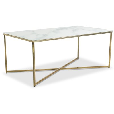 Palasso soffbord 110 cm - Mässing / Ljus marmorering