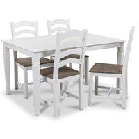Mellby matgrupp 140 cm bord med 4 st New England stolar - Vit / Brun