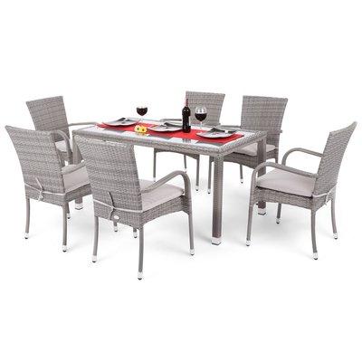 Matgrupp Mori 150 cm - grå, inkl. 6 stolar